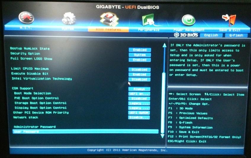 Bios Features   Hackintosh Gigabyte GA Z77X-D3H Mac OS X 10 8 3